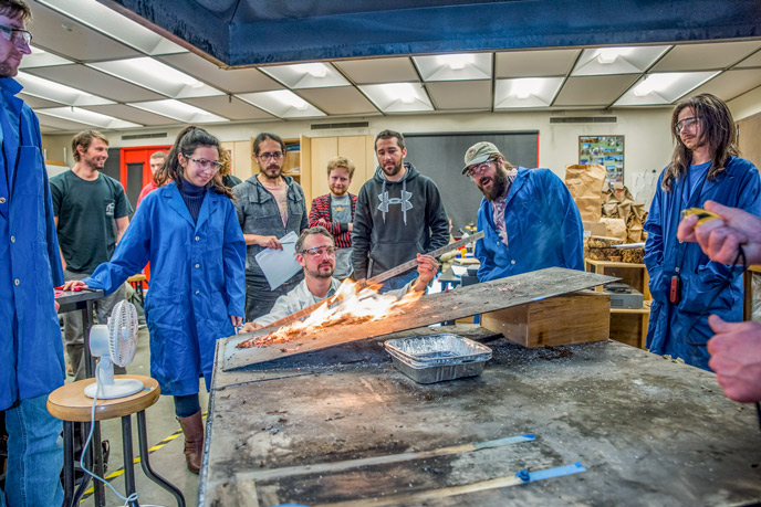 Teacher and students in firelab
